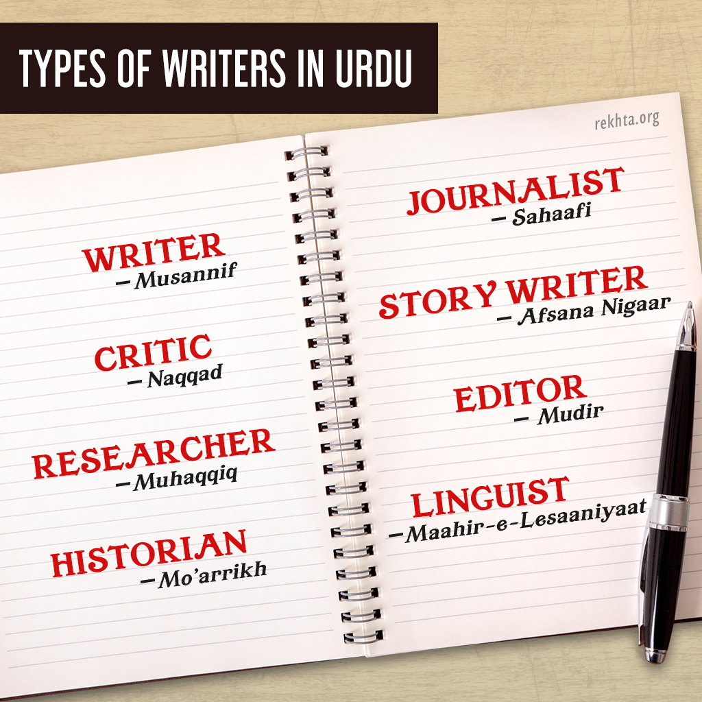 Types of Writers in Urdu | Rekhta Basics: Learn Urdu | Urdu words