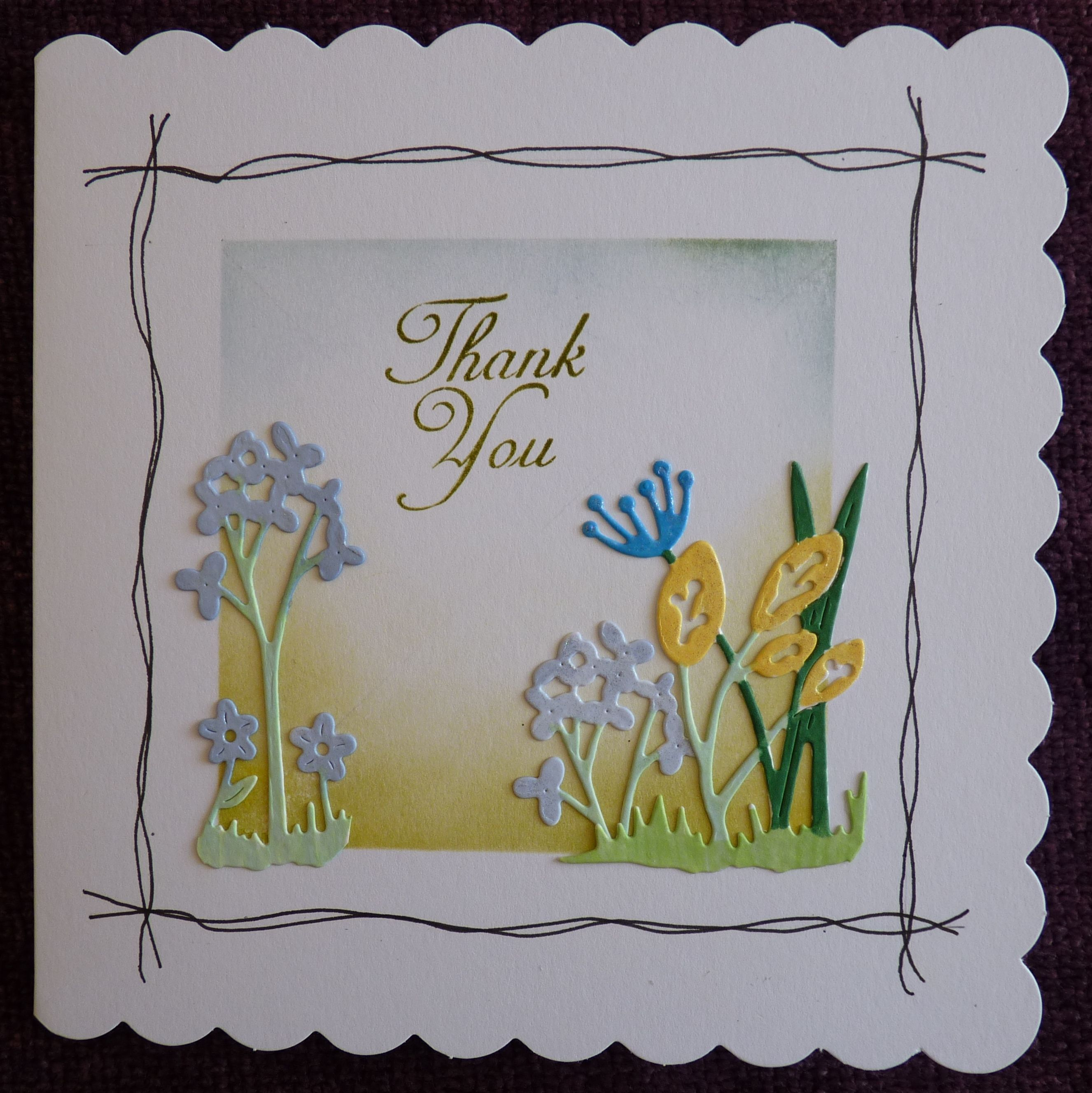 Thank You card 6 x 6 using Tattered Lace die.