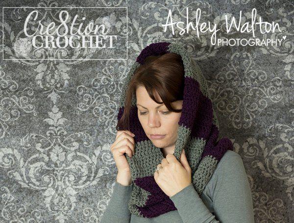 crochet rayas voluminosa capucha patrón libre