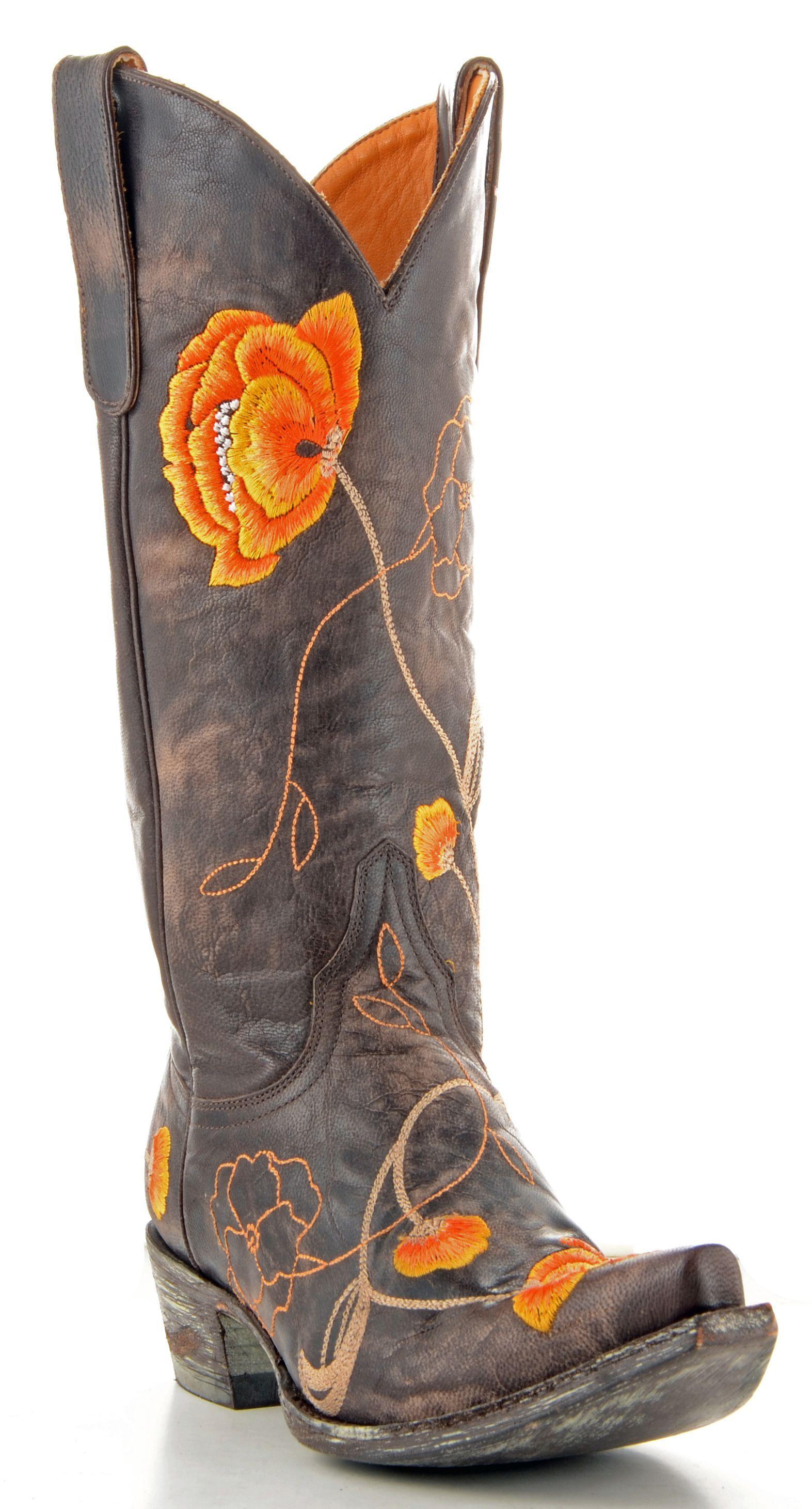 Womens Orange Cowboy Boots Coltford Boots