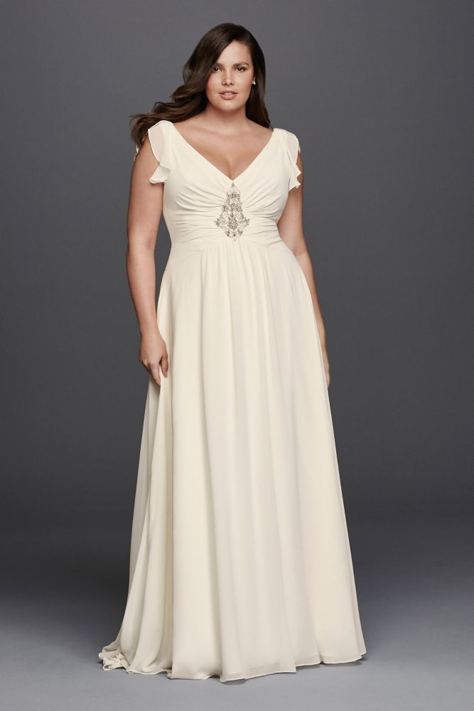 Extra length plus size flutter cap sleeve beaded wedding for Flutter sleeve wedding dress