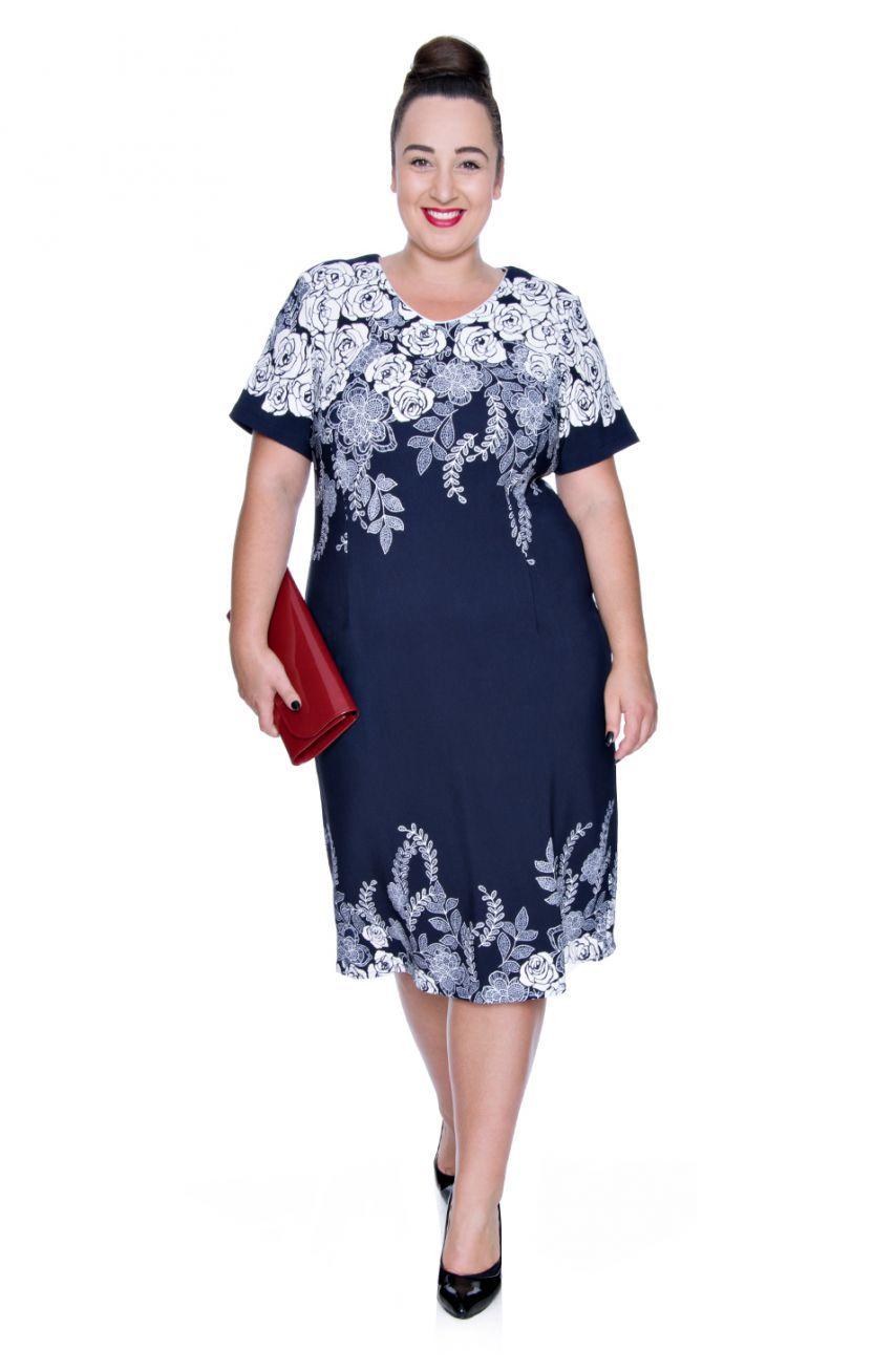 28b84301 Granatowa sukienka kremowe róże - Modne Duże Rozmiary | MDR Sukienki ...