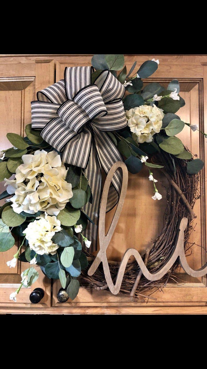 Photo of Wreath For Front Door- Farmhouse Wreath- Front Door Wreath- Summer Wreath- Everyday Wreath- Year Round Wreath- Door Decor- Eucalyptus Wreath