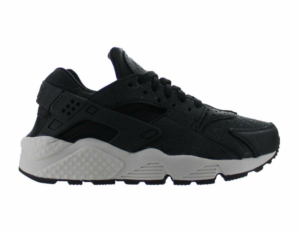 34104d71acff Womens Nike Air Huarache Run Premium Black Light Bone Dark Grey 683818-010  - Nike