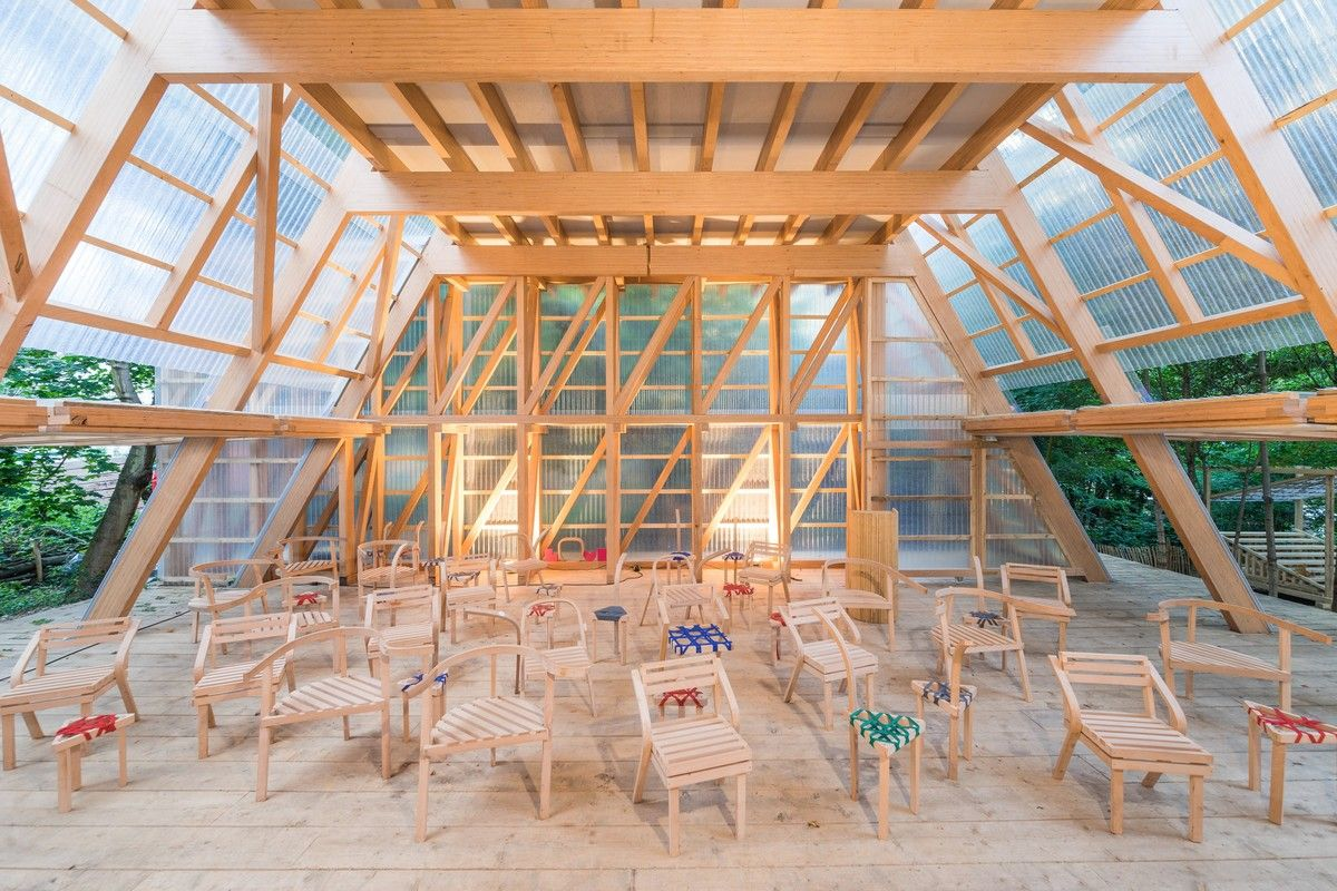 Osthang Project, Germany, 2014. The Main Hall is the central space of a temporary artists' colony, built in the summer of 2014 on the Osthang at Mathildenhöhe. Constructlab and Atelier Bow-Wow were invited by the Darmstadt Architektursommer e.V. and Raumlabor-Berlin to team up for the...