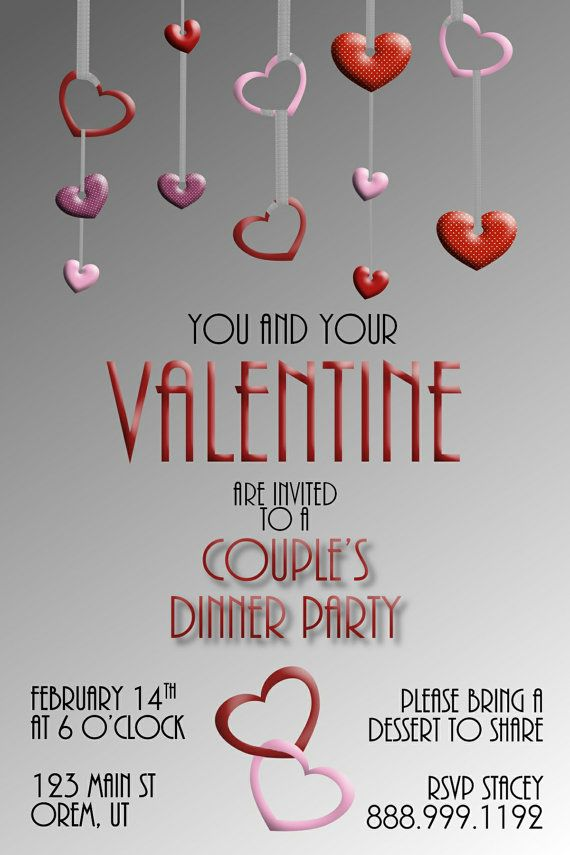 Adult ValentineS Dinner Party Invitation X By Writeonthedot
