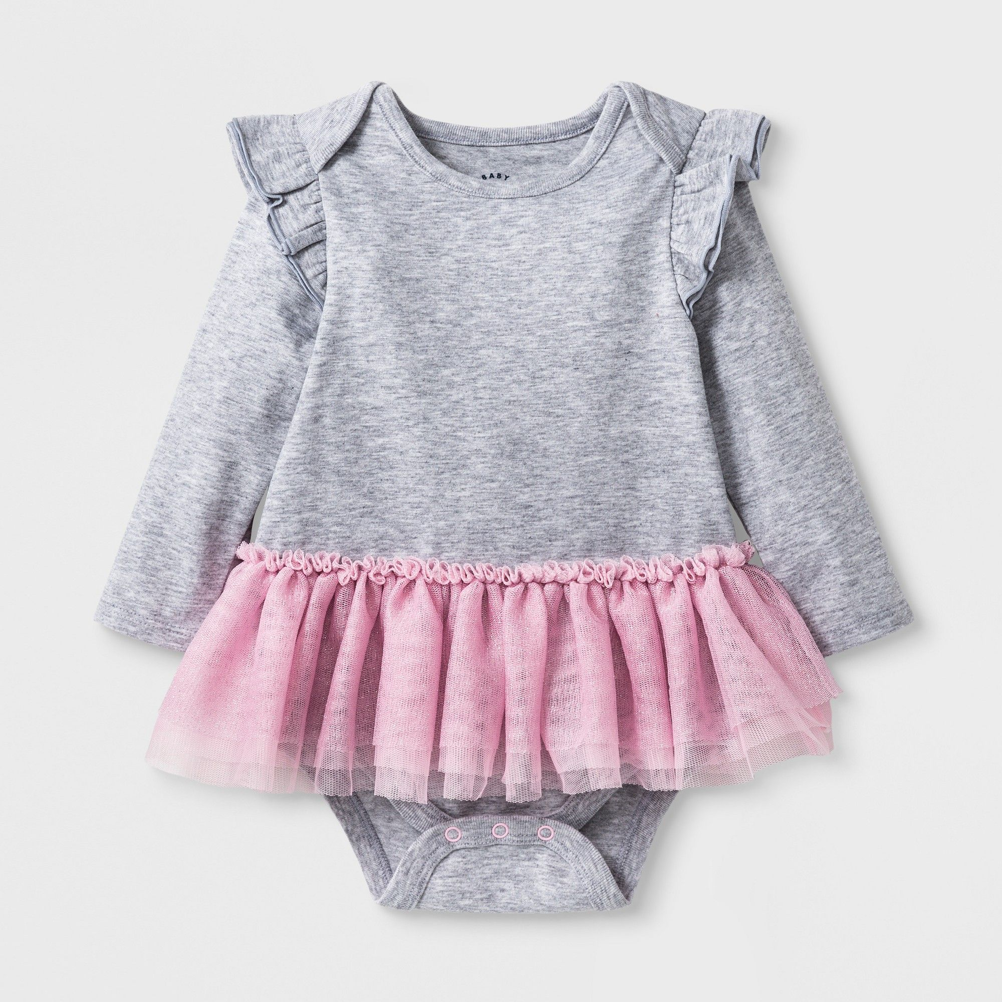 45808cbec0 Baby Girls  Long Sleeve Tutu Bodysuit - Cat   Jack Heather Gray 0-3 ...