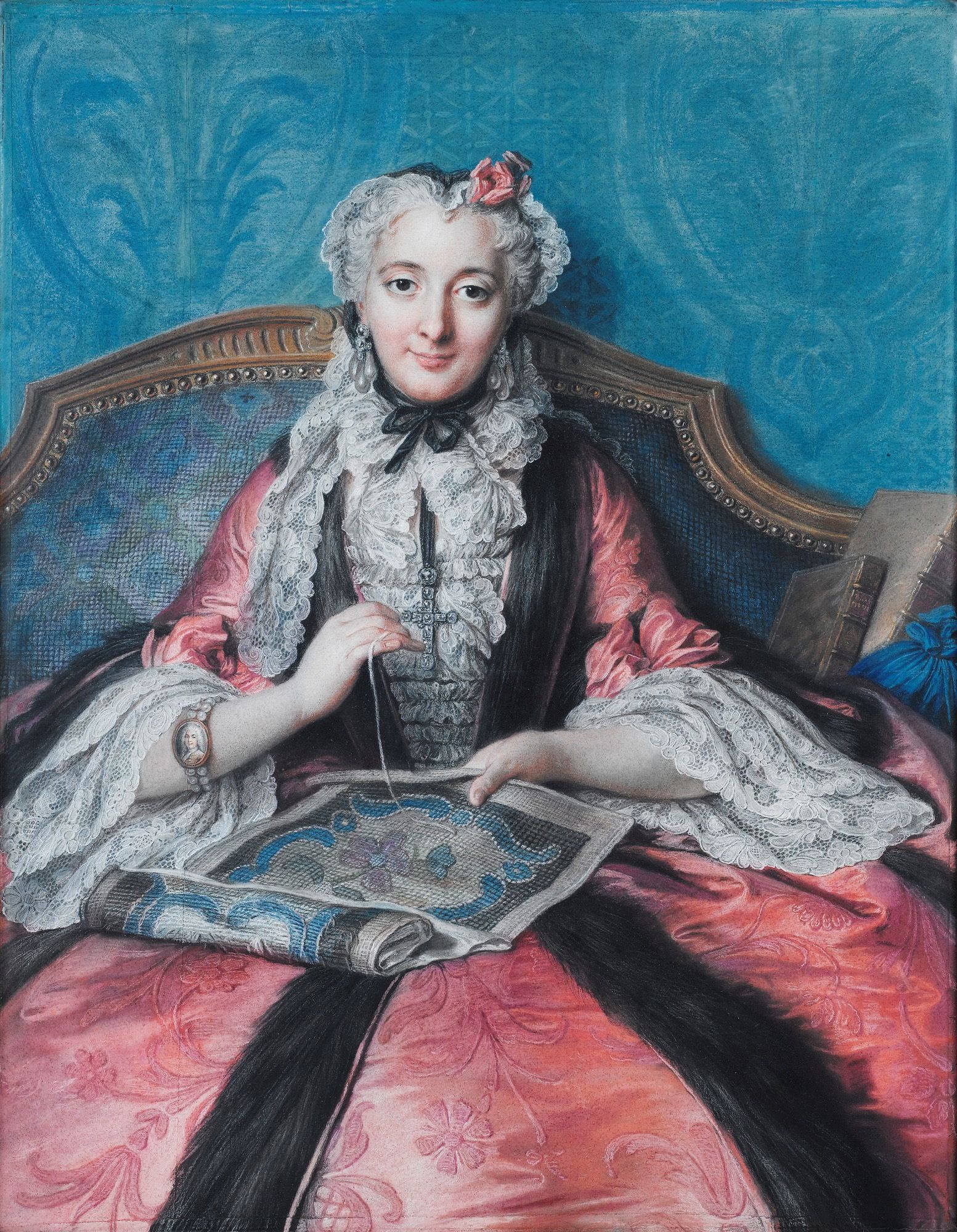 Portrait Of A Woman Sewing Charles Antoine Coypel Iv Art 18th Century Paintings Social Art