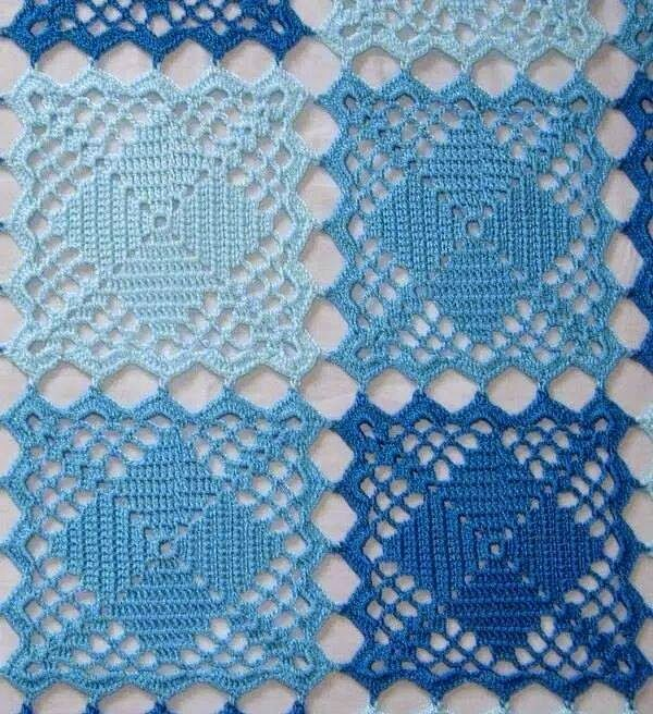 Fazendo Crochê com a Rita: Três Tons de Azul