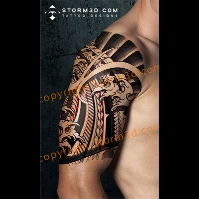 Japanese And Polynesian Mixed Tattoo Design With Fingerwaves Maori Tattoo Polynesian Tattoo Tattoos