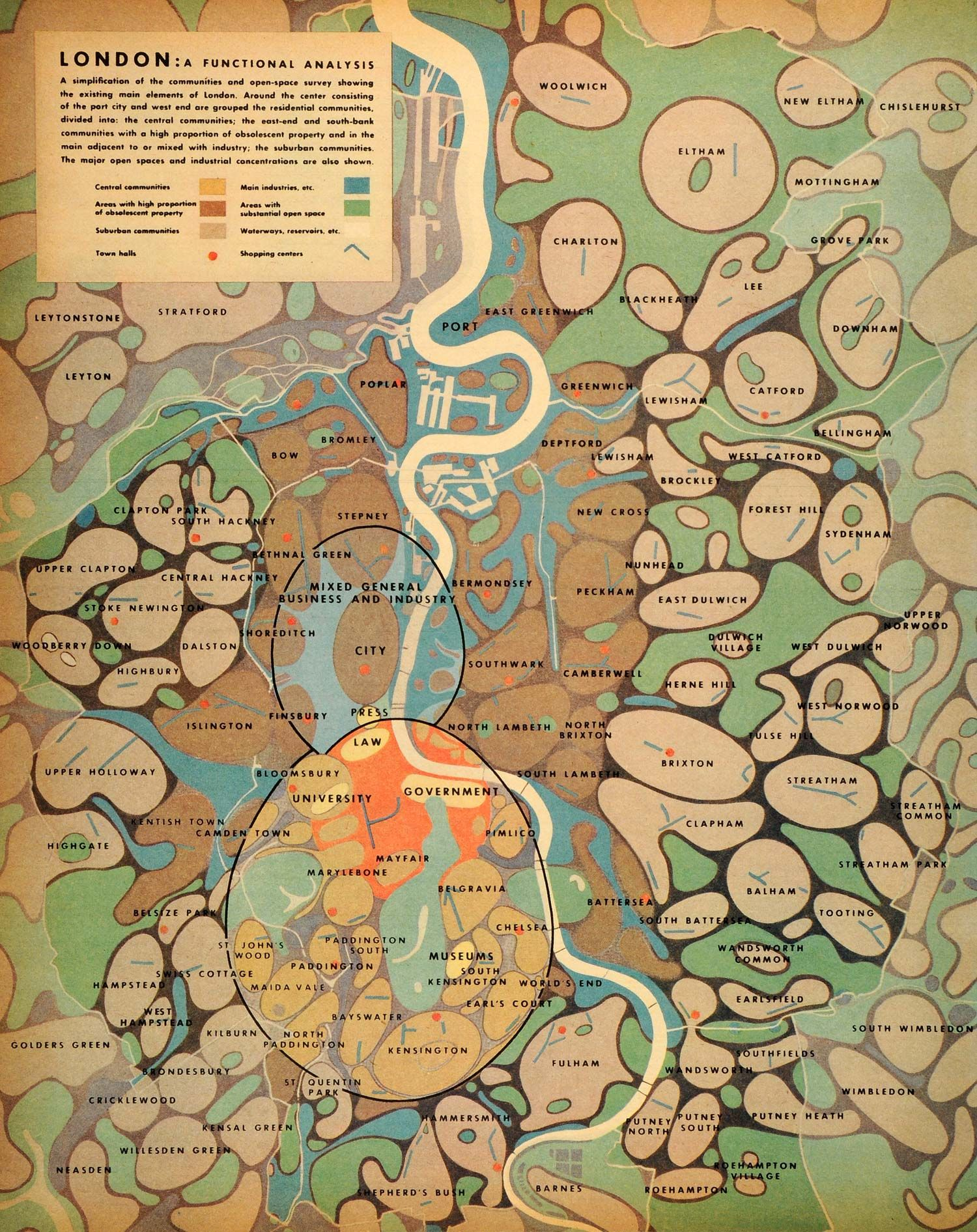 """London: a functional analysis"" from Patrick Abercrombie's post-war urban planning, 1944"