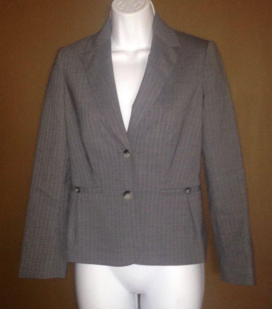 Banana Republic Women's Gray Pin Striped Suit Pants & Blazer Size 0 P