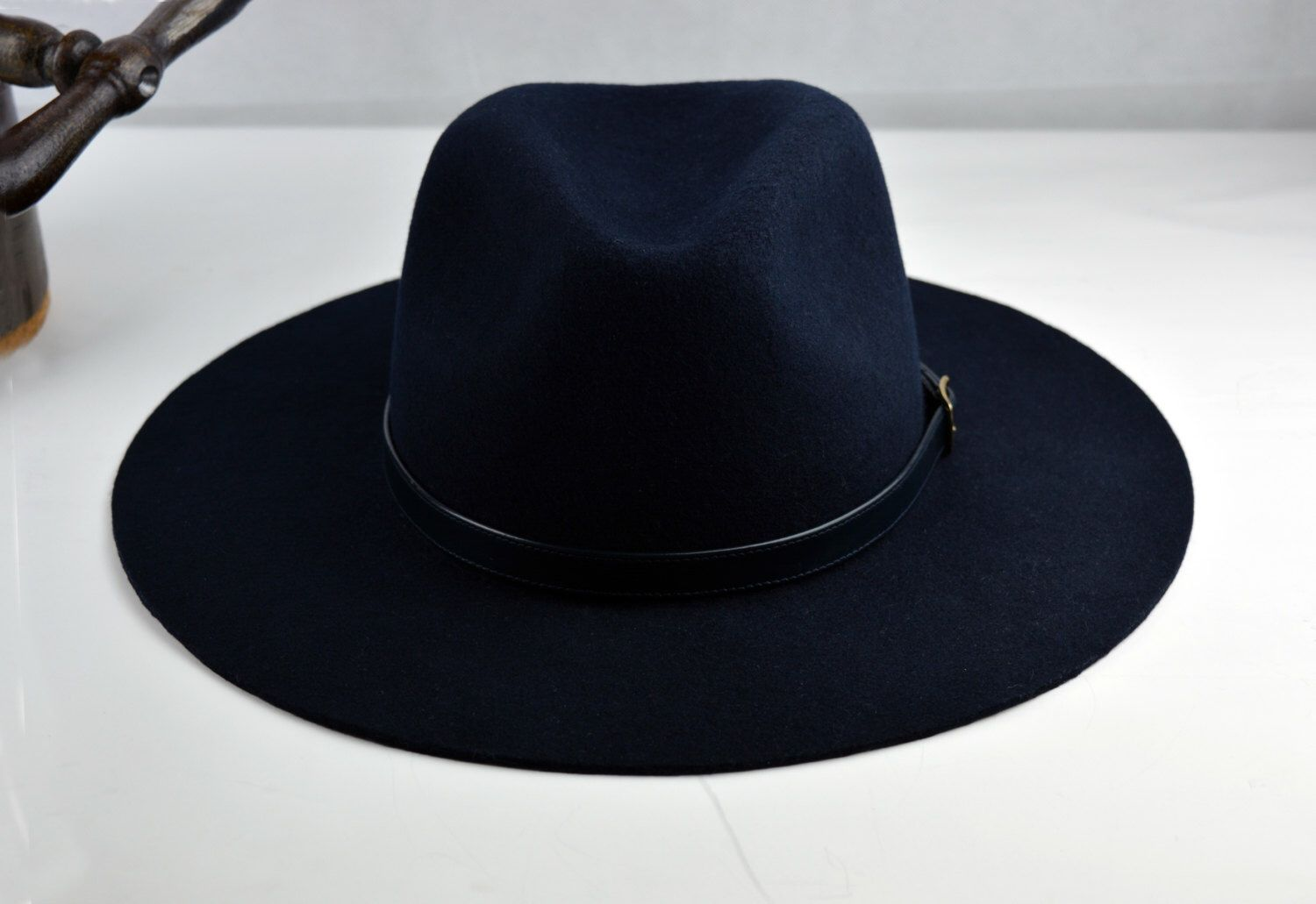 Navy Blue Outdoor Fedora - Wide Brim Wool Felt Handmade Outdoor   Western   Fedora  Hat 774771c9180f