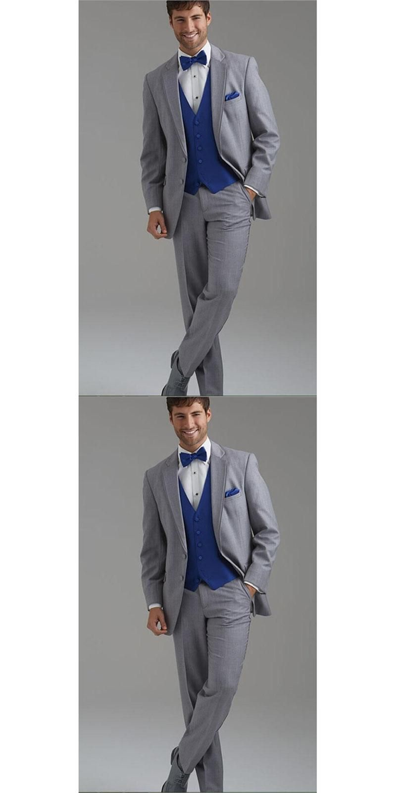 Customize Two Buttons Light Grey Groom men suit Tuxedos Notch ...