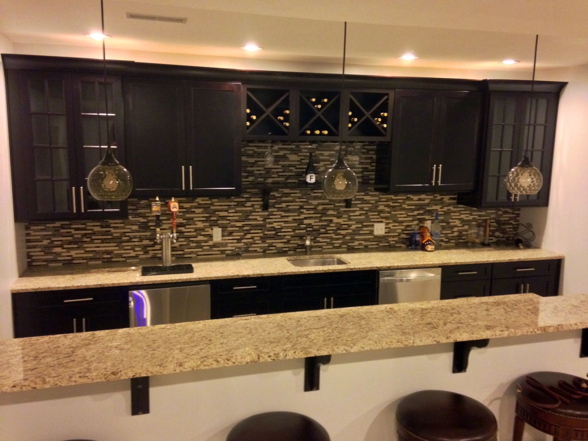 Basement Bar, Kegerator With Taps Right Into The Counter Top