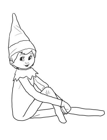 Elf On The Shelf Coloring Page Elf On The Self Christmas Elf