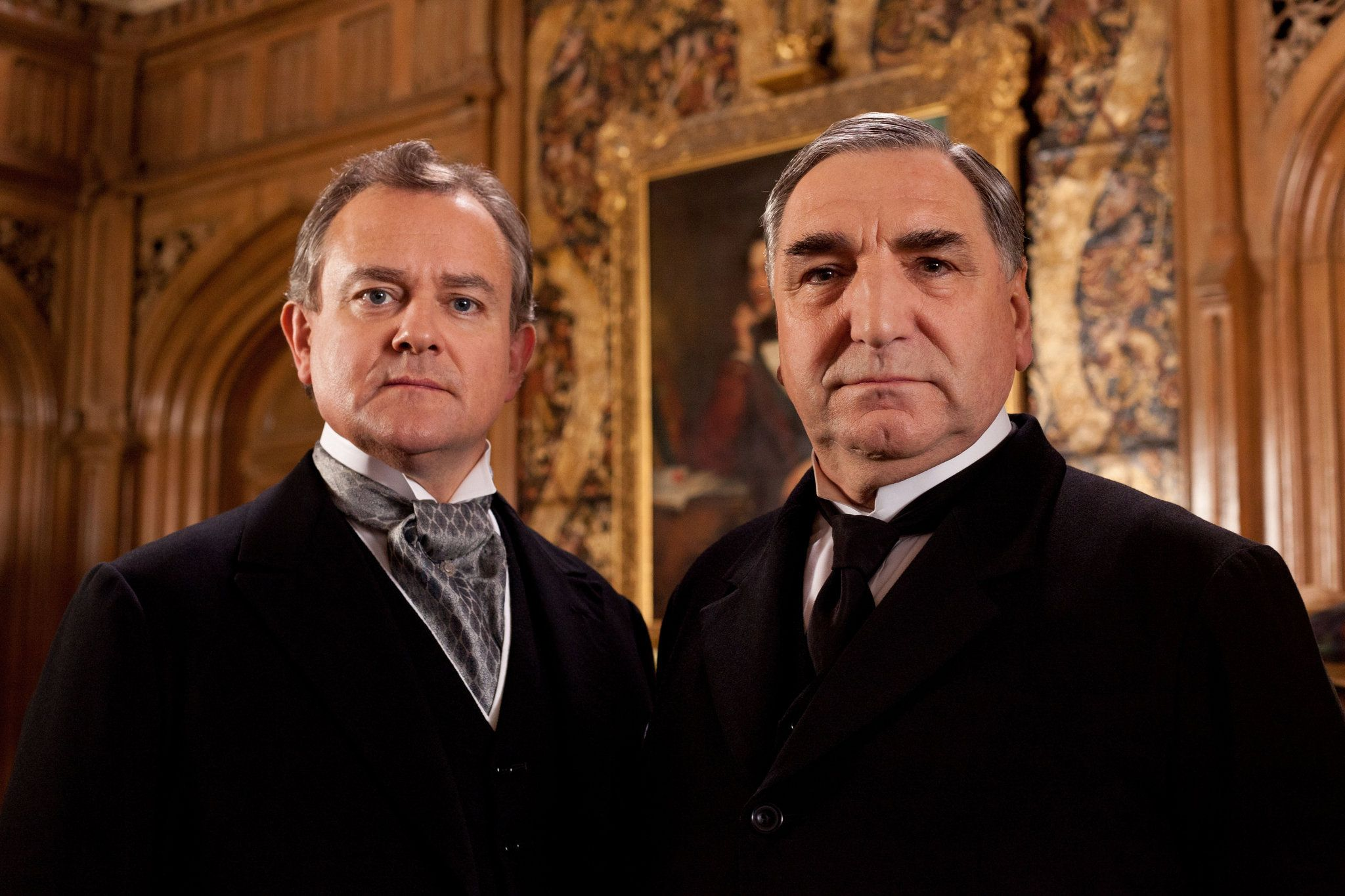 Lord Grantham (Hugh Bonneville) and Carson (Jim Carter)