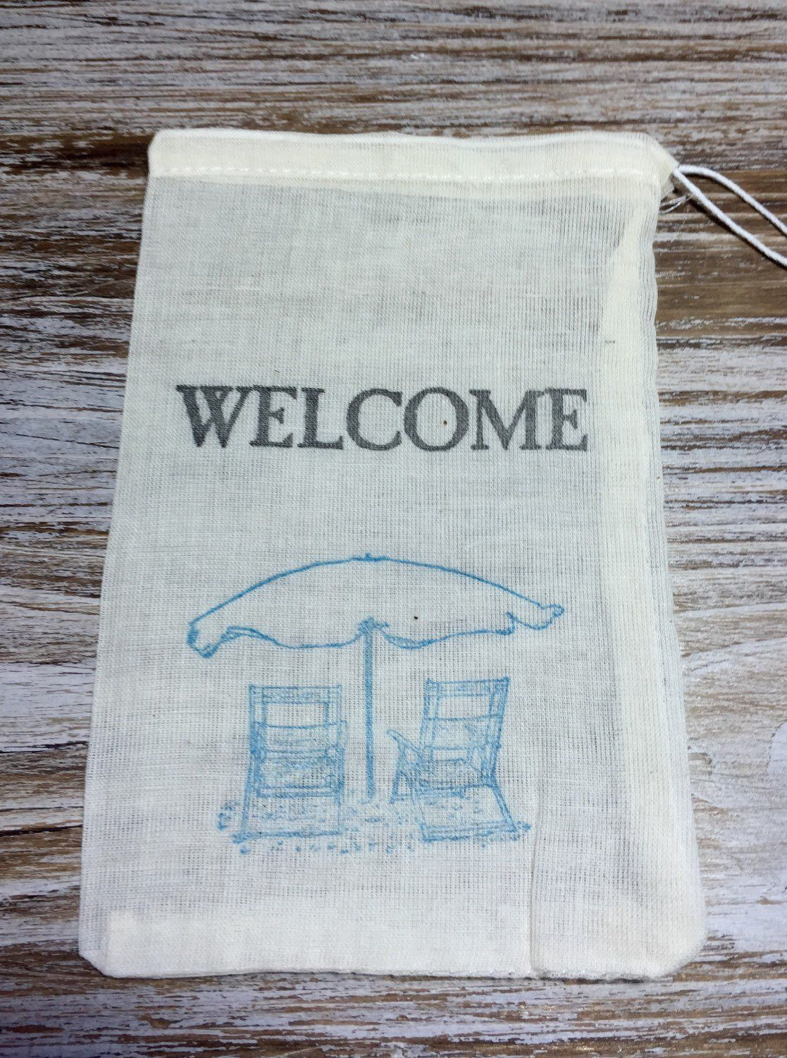 10 beach wedding favor bags, welcome favor bags, beach chair favor ...