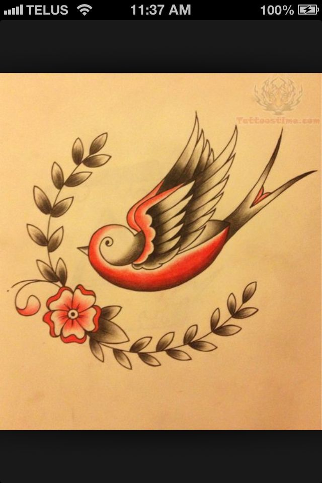 Vintage Bird Tattoo Tattoos And Piercings Pinterest Little Flower Tattoos Vintage Bird Tattoo Swallow Tattoo Design