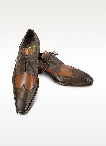 7e21ccd23f212 Two-Tone Italian Handcrafted Leather Wingtip Oxford Shoes  554.00 ...