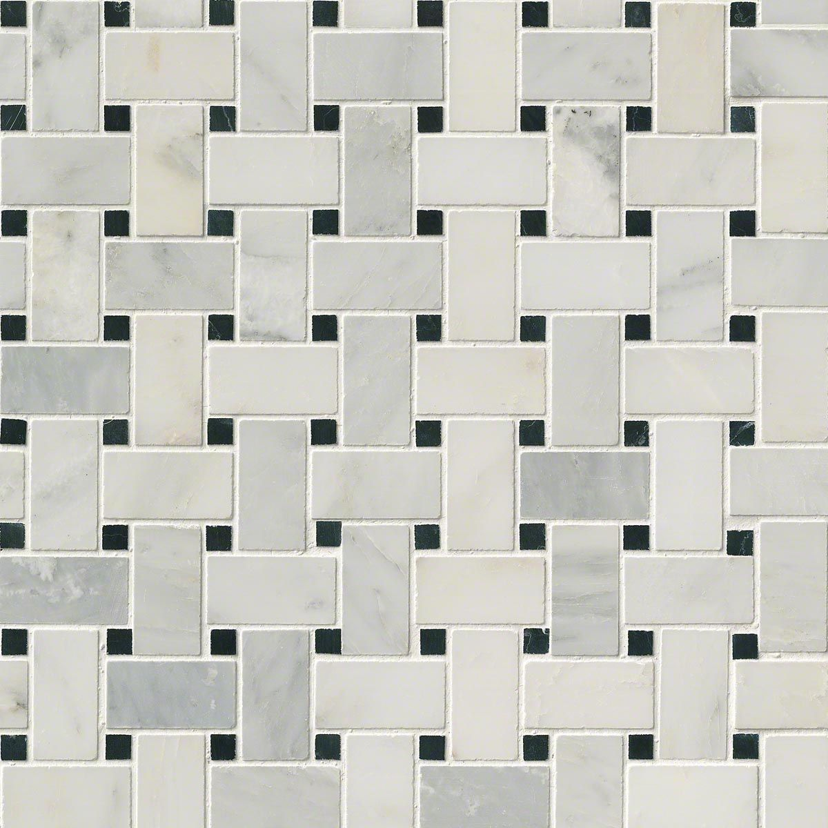 Arabescato Carrara With Black Marble Basket Weave Pattern Honed Tile Mosaics Basket Weave Tile Tiles Marble Mosaic Tiles