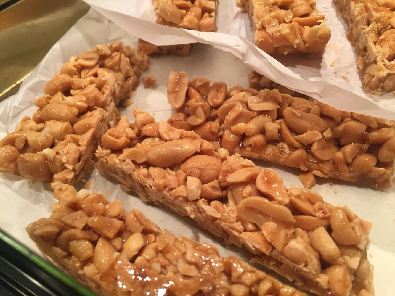 Home made peanut crunch bars for some energy without added sugar