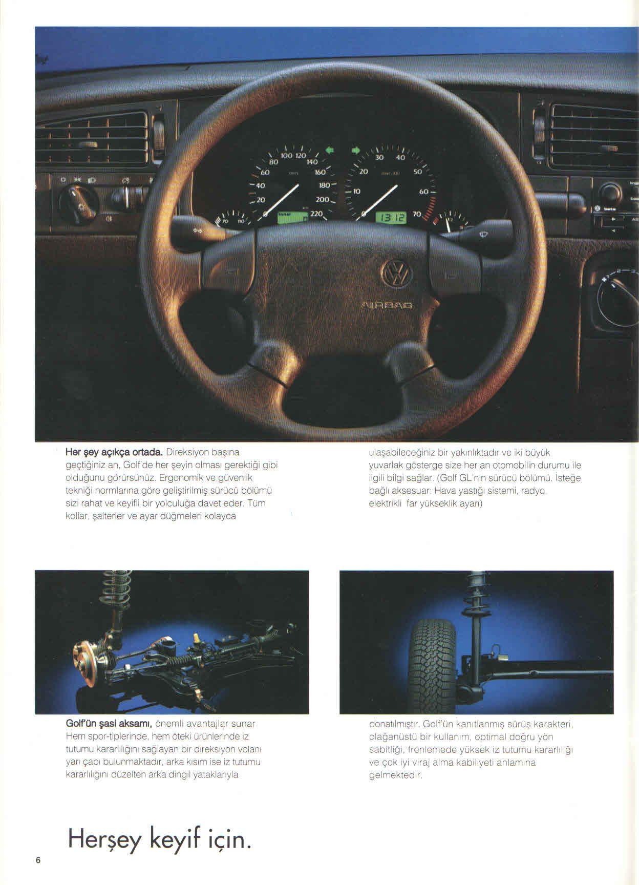 1996 Volkswagen Golf Mk3 Turkish Brochure Catalog Page 6 40 1996 Volkswagen Golf Mk3 Turkce Brosur Katalog Sayf Volkswagen Golf Volkswagen Car Volkswagen