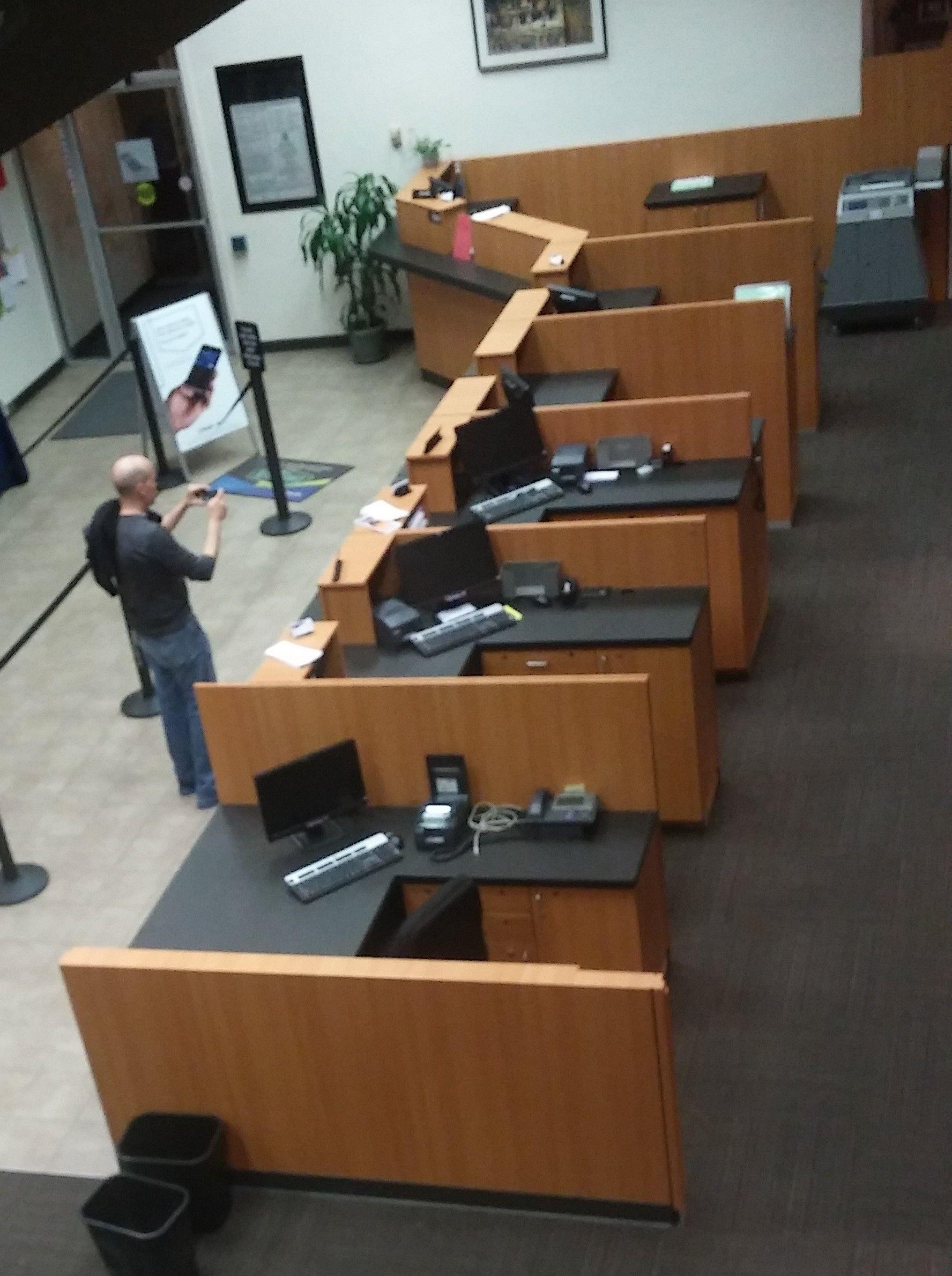 resurfaced the front teller line | bank interior design