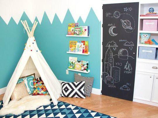 Montagnes bleues sur un mur avec un tipi | déco chambre ...