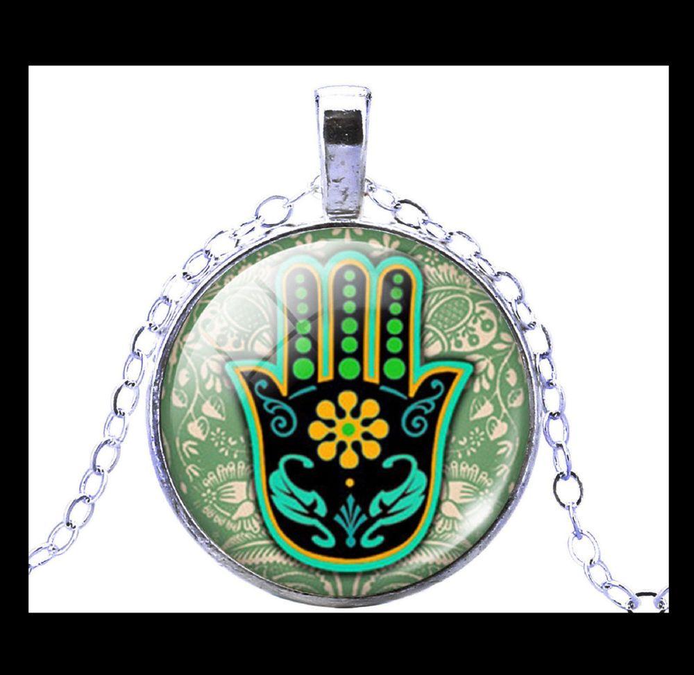 NEW - SILVER HAND OF FATIMA HAMSA GLASS OPTIC CABOCHON PENDANT NECKLACE #Handmade #Pendant
