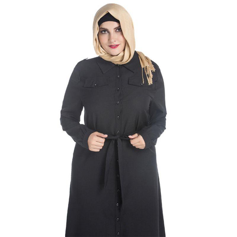 US  15.33 New design long sleeve islam women black muslim long dress shirt  dress ankle length plus size muslim prayer dress fb53fef78fe7