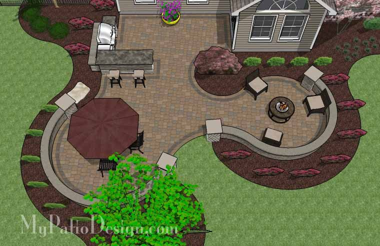 Large Paver Patio Design with Grill Station + Bar. | Plan No. 1155rr | Download Installation Plan at MyPatioDesign.com #backyardpatiodesigns