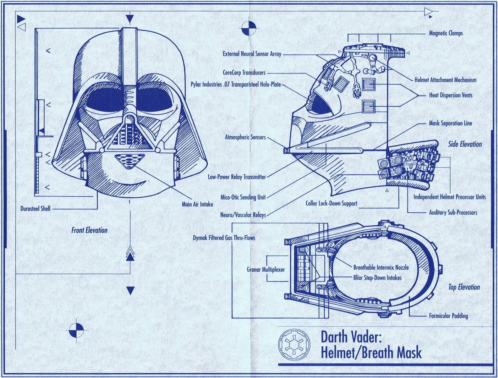 Darth vaders armor vader helmet darth vader and star darth vaders helmet blueprint malvernweather Images