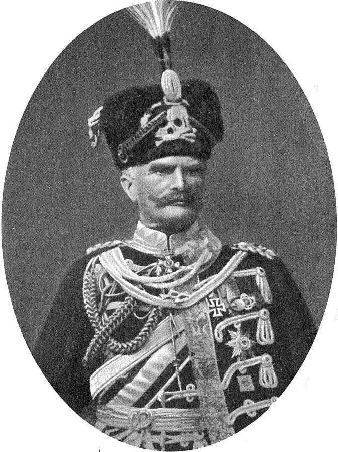 August von Mackensen, German field marshal in hussar full dress prior to 1914, with the Totenkopf on his fur busby.