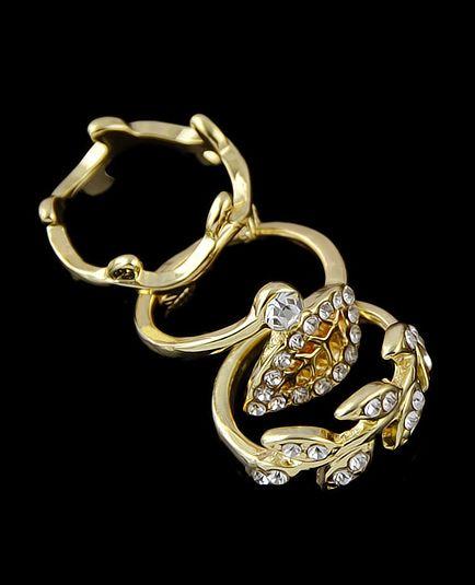 Gold Diamond Leaves Three Fingers Rings 3.92