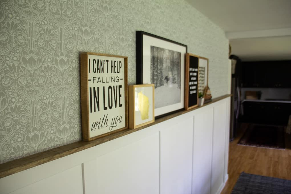DIY Faux Wainscoting with Picture Ledge and Wallpaper ...