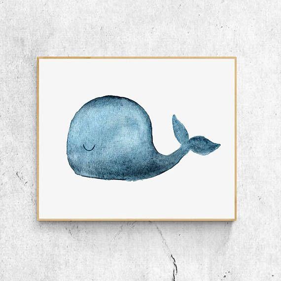 Baby Whale Print 02 Ocean Art Print Watercolor Whale Tierkunst