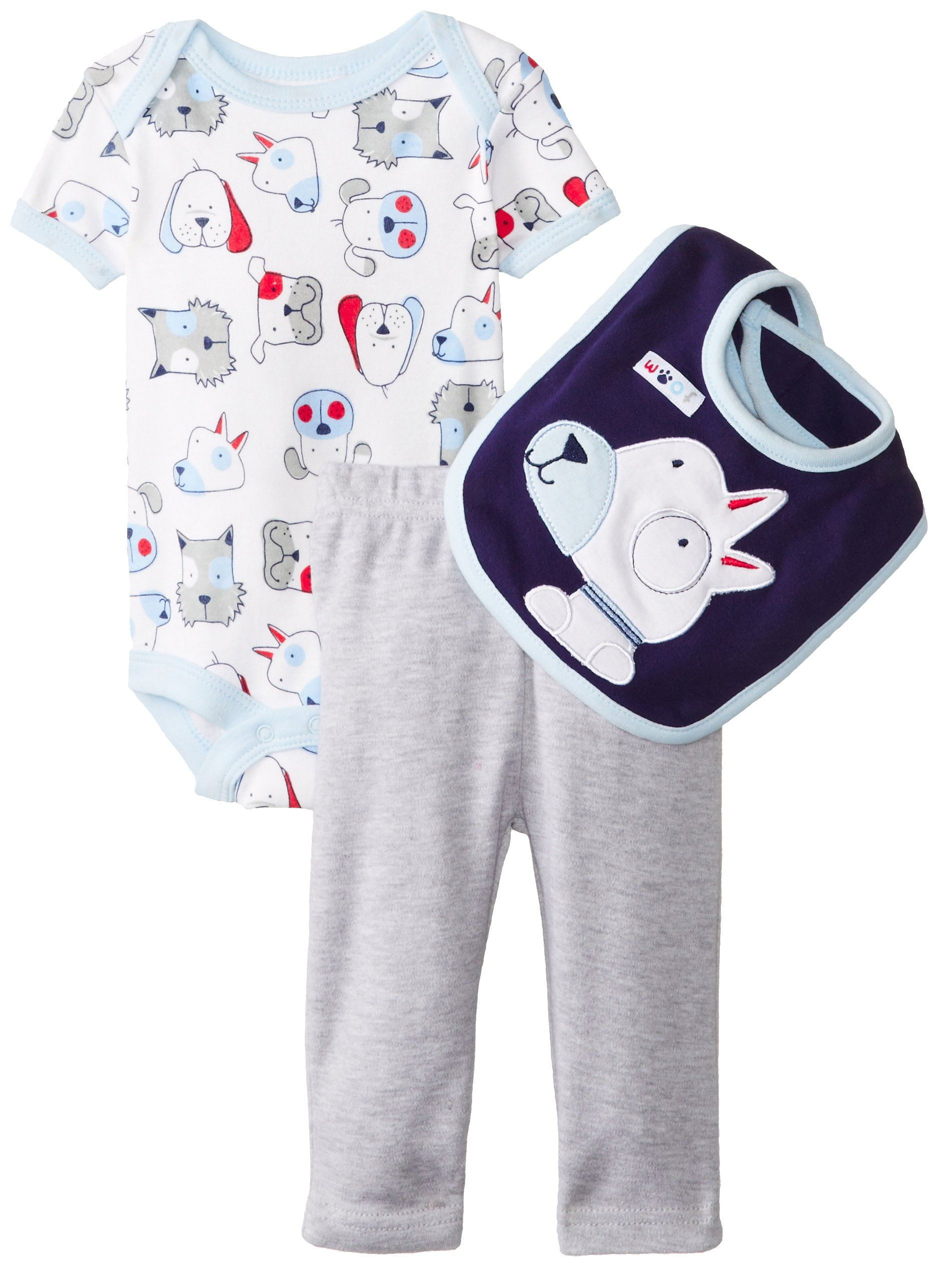 Amazon Rene Rofe Baby Baby Boys Newborn Woof 3 Piece Pant Set with