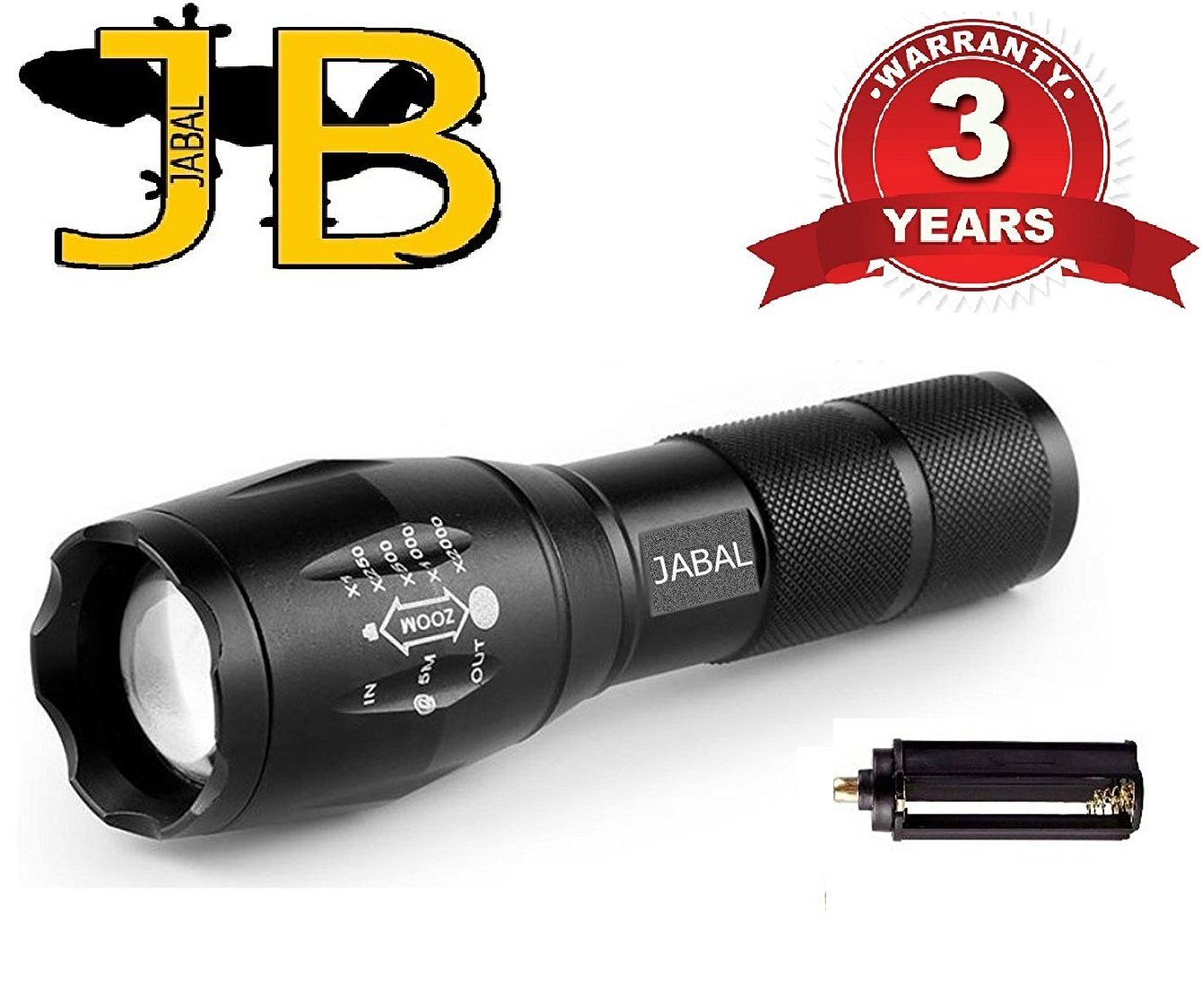 JABAL Indestructible Flashlight Waterproof Mini Cree LED Pocket Tactical 1000 Lumen. This Torch Light 5 Modes with Strobe and SOS. High Military Grade Police use. Great For Hiking, Camping, Biking.