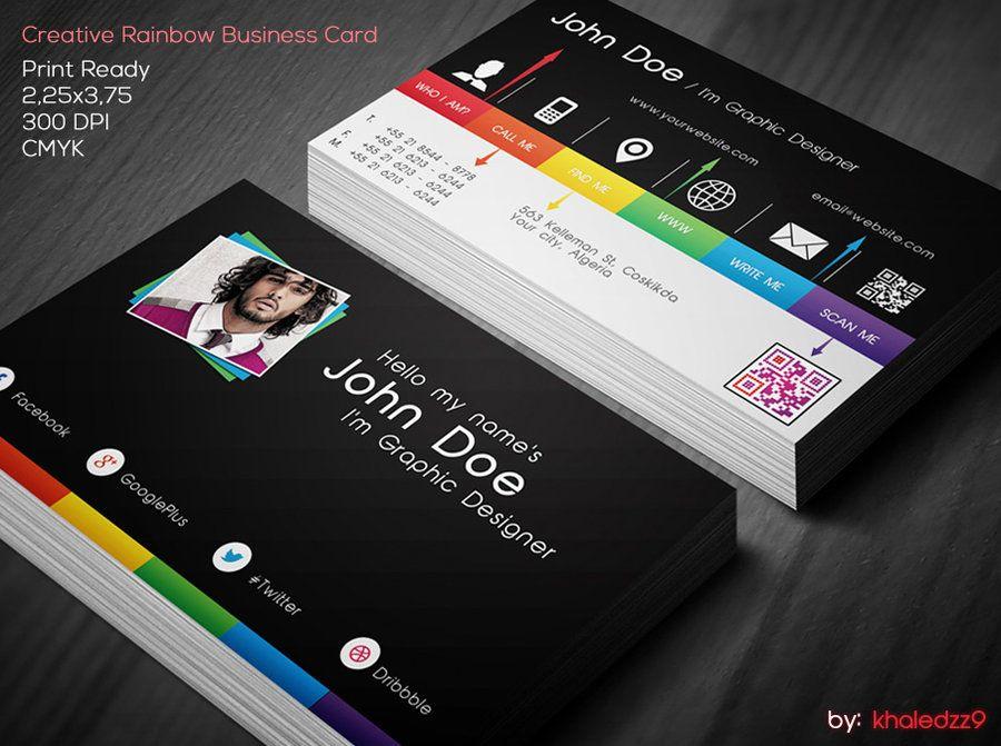 Creative Rainbow Business Card by khaledzz9deviantart