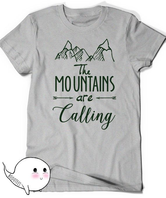e2c354a4296 Mountains T-Shirt T Shirt Tees Funny Humor Ladies Girl Womens Mens Gift  Present Hiking The mountains are calling Climbing Hiker Trail Camp