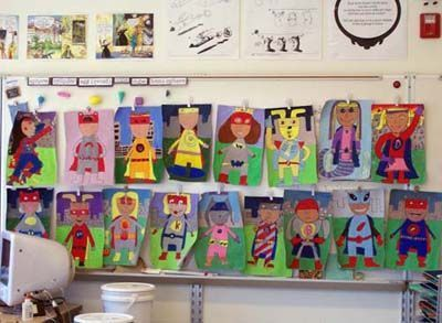 super hero portrait paintings - how fun. study the colors used in super heros (mostly primary colors) - great lesson for real life application
