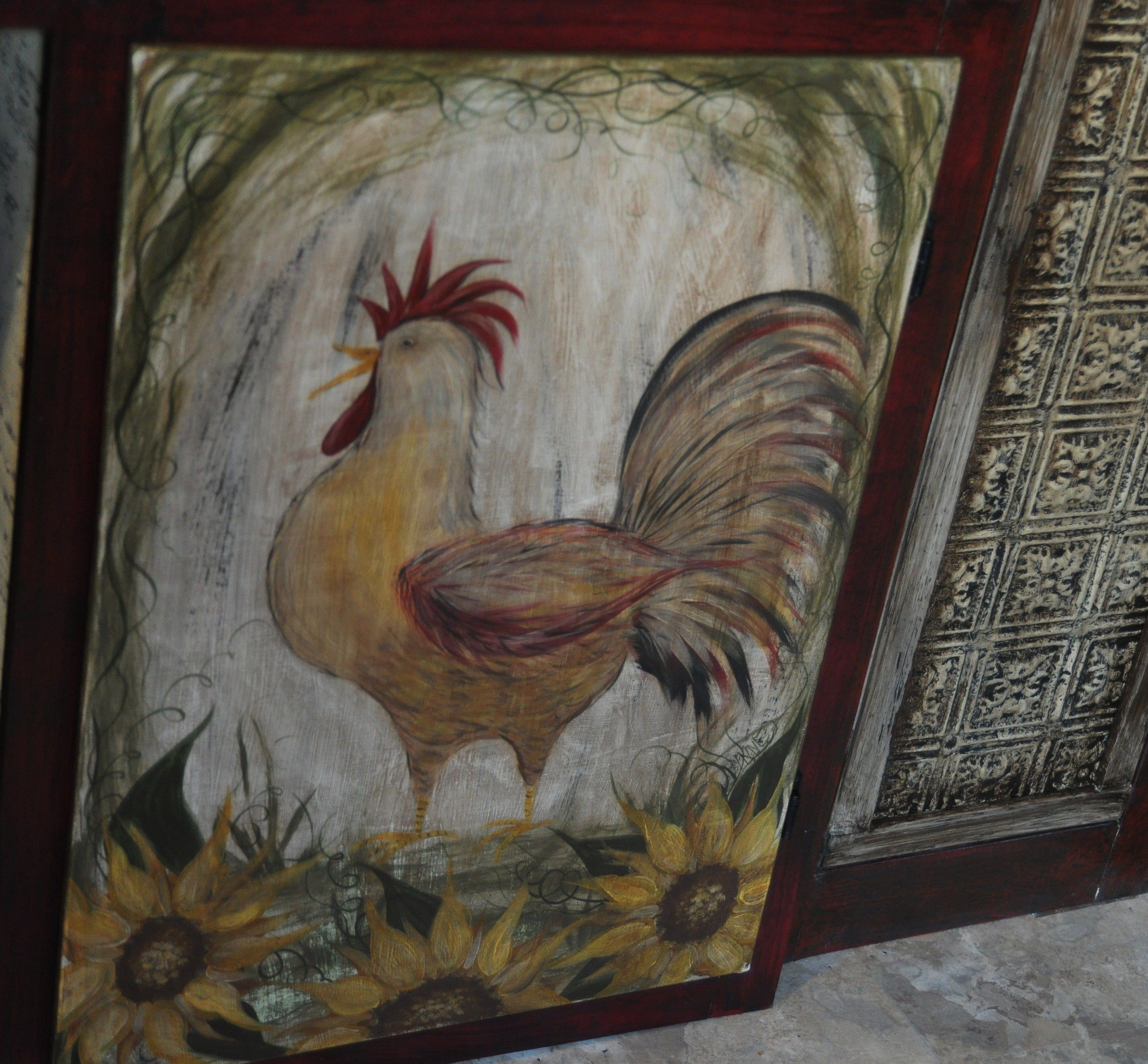 Rooster Hand Painted Kitchen Cabinet Door With Sunflowers.