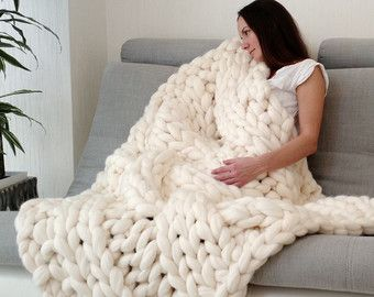 Cable Knit Blanket Chunky Hand Knitted Cozy Gift Idea Wedding Throw Wool