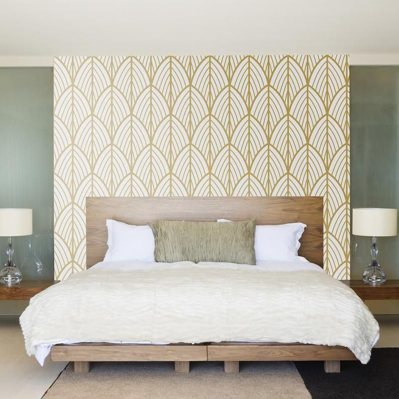 Art Deco Leaves Wallpaper Outlines Mid Century Modern Etsy 26810560271938955 Feature Wall Bedroom Art Deco Bedroom Art Deco Home