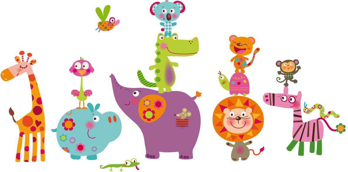Vinilo decorativo infantil animales selva decorative for Vinilos infantiles animales