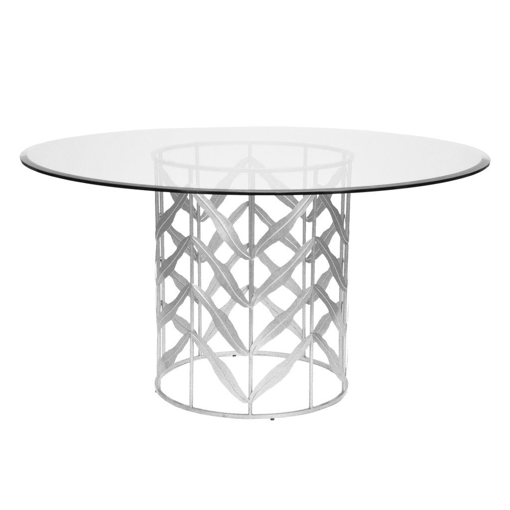 The Worlds Away Redding Dining Table Highlights A Silver Leaf Round Lattice Base Topped With Plain Glass D Dining Table Round Dining Table Dining Table Bases