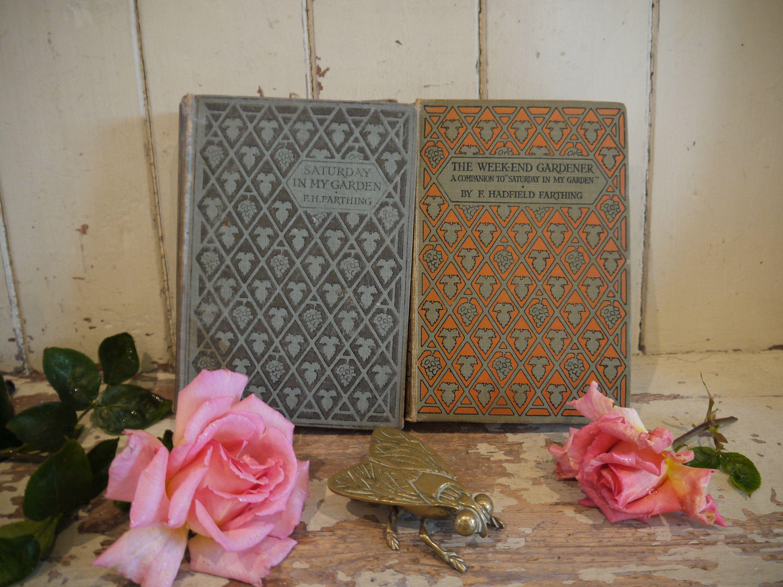 Pair Of Antique Gardening Books Flower Book Nature Book Etsy Gardening Books Antiques Coffee Table Books