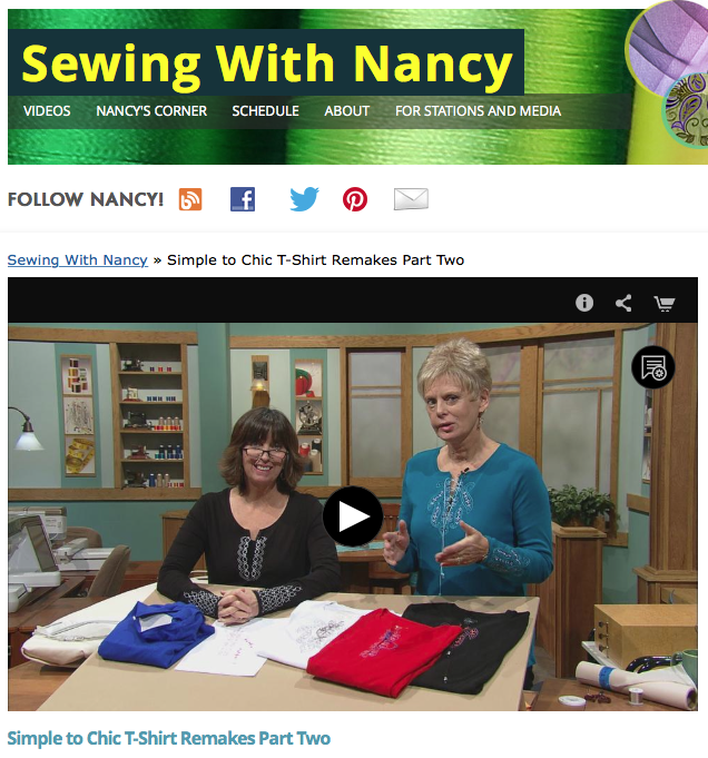 Nancy Zieman and Guest Eileen Roche Show Simple to Chic T-Shirt Remakes Part Two on the TV Show Sewing With Nancy. Learn How Machine Embroidery Transforms a Basic T-Shirt into a Chic Top.