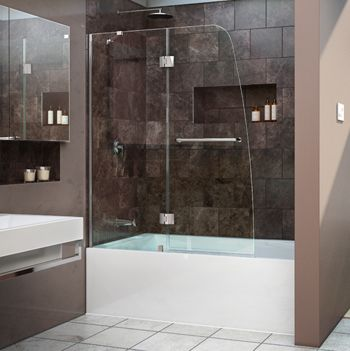 Semi Framed Pivot Tub And Shower Door In Chrome With   The Home Depot